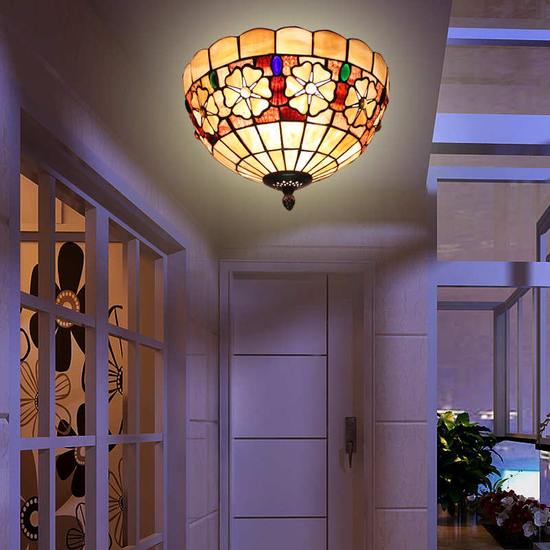 Mediterranean Style Lighting: 12inch Tiffany Mediterranean Style Natural Shell Ceiling