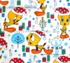 140X100cm Tweety Bird With Christmas Hat And Gifts White Cotton Fabric For Baby Christmas Day Decoration