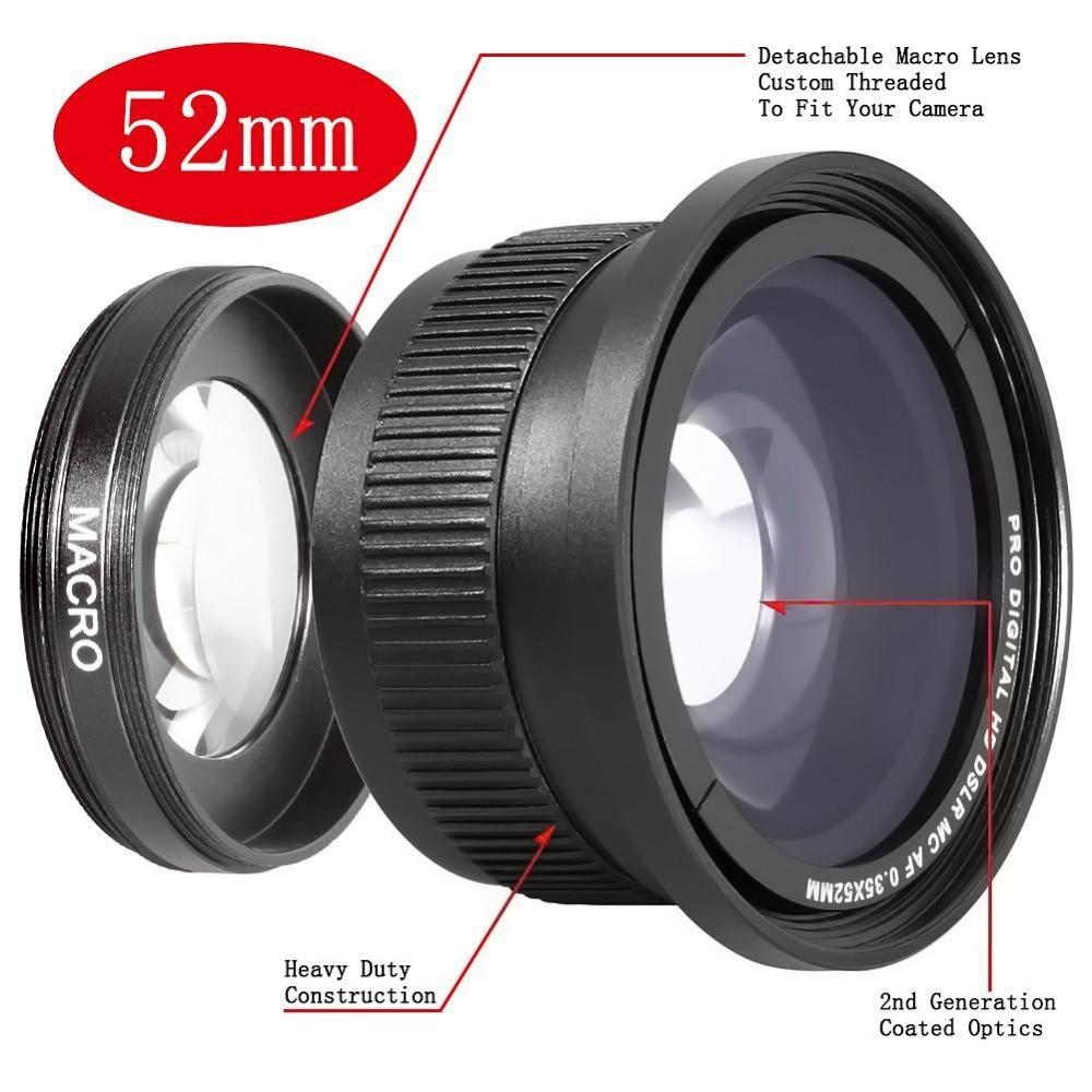 Neewer 52mm 0 35x Super Fisheye Wide Angle Lens for 52 MM Nikon D7200 D7100 D5200