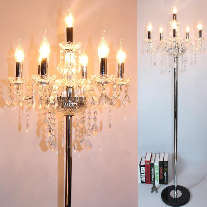 Parlor Chrome Led floor lamp Crystal candle holder Silver luminaria de piso Party wedding long & tall candle floor light 5-7 luz sylvan tall candle lantern