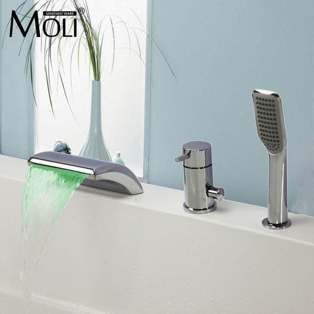 3 piece bathroom faucet. Bathtub mixer Temperature Controlled Faucet Led Light Waterfall 3  piece bath faucet with hand shower