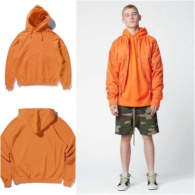 Streetwear OVERSIZE Orange Hood Pullover Hoodies Europe the United ...