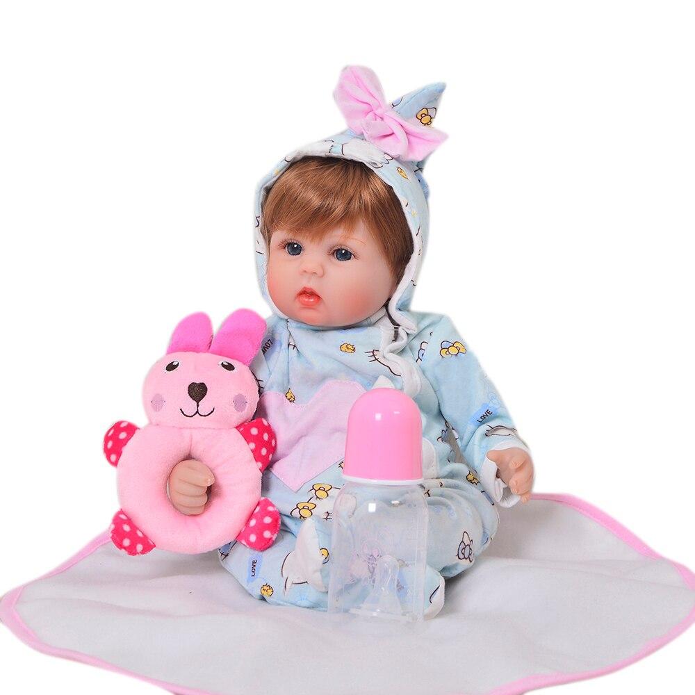 KEIUMI 17 Inch Lifelike Reborn Girl Doll Soft Silicone 42 cm Cotton Body Realistic Baby Toy