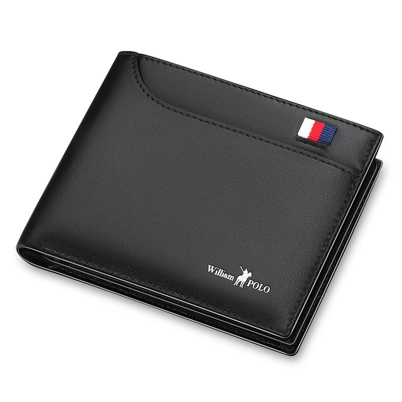 917f6f55e WILLIAMPOLO de negocios de los hombres Cartera de cuero genuino, cartera  Banco caso de la tarjeta de crédito ID titulares hombre monedero bolsillos  ...