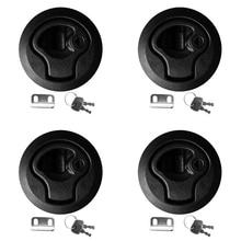 4 Stuks Ronde Slam Hatch Lock Type Klink Vervanging Plastic Black Met Sleutels Voor Rv Marine Boot Jacht Hatch/ dek Nylon