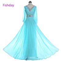 Fishday Mother Of The Bride Dresses Beaded Long Sleeve Sky Blue Chiffon Dinner Elegant Party Plus