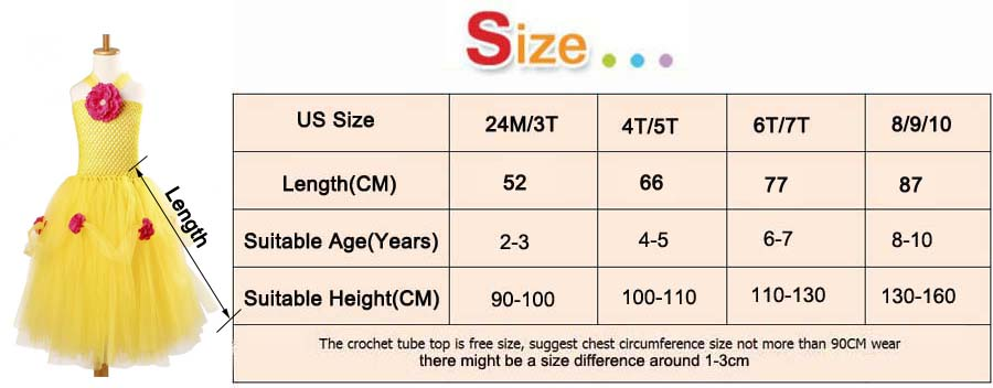 Yellow Princess Belle Tutu Dress The Beauty and the Beast Inspired Girls Birthday Party Dress Kids Photo Cosplay Costumes Vestidos (8)