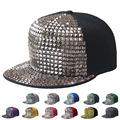 New Cotton Polyester Rivet Baseball Hat For Men Fashion Korean Women Gllittering Panels Street Hiphop Snapback Chapeau Hat Cap