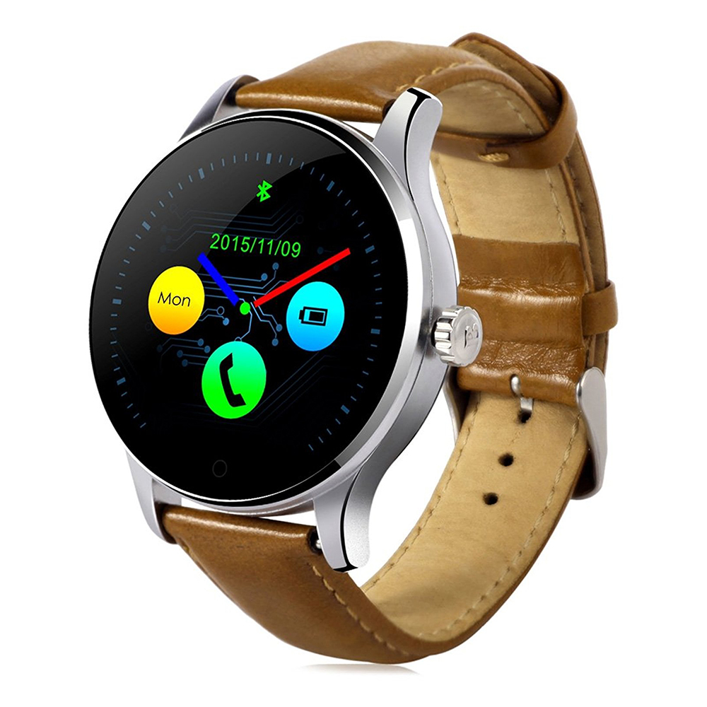 K88H Bluetooth Smart Watch with Heart Rate Monitor Leather Band Wristwatch for iOS and Android Brown+Leather Band