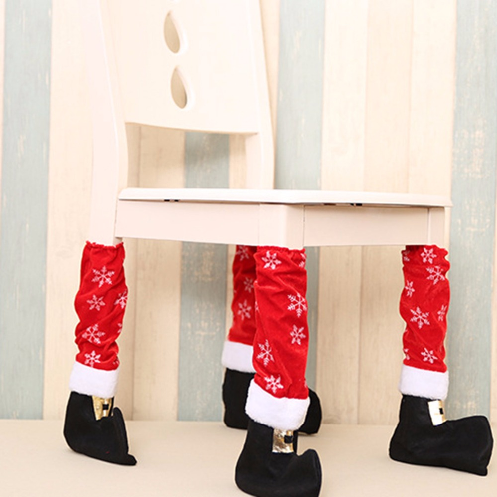 Christmas Chair Protect Floor Leg Event Xmas Party Dinner Restaurant Hotel Chairs Legs Corving Set Household Decorative Supplies