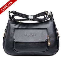 AIBKHK New Soft Mother Shoulder Bags High Quality Middle Age Women Handbags Leather Messenger Handbag