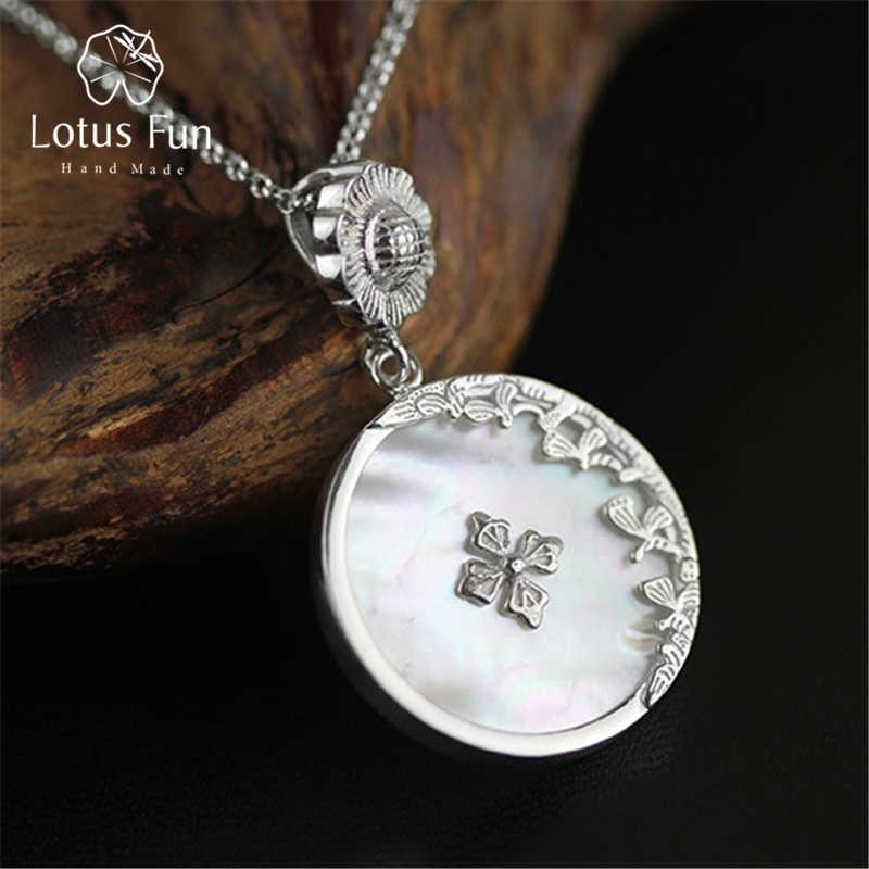 Lotus Fun Real 925 Sterling Silver Natural Shell Handmade Fine Jewelry Retro Round Pendant without Chain Acessorios for Women lotus fun real 925 sterling silver handmade fine jewelry creative cat playing balls pendant without chain acessorios for women