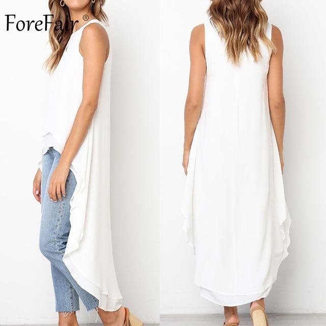 Forefair Summer Sleeveless Cold Shoulder Blouse Long Plus Size Fashion Casual Elegant Round Neck Ruffle Chiffon Blouse Women