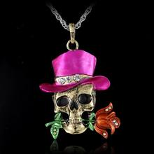 Vintage Skeleton Skull halloween necklace Pendant Fashion Halloween Jewelry wholesale dominant charms Flower Necklace for women