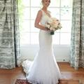 White Lace Mermaid Wedding Dress Sheer Illusion Back Deep V-neckline Fishtail Chapel Train Modest Classic Bride Gown 2016 New