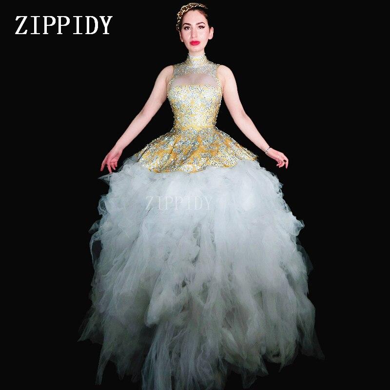 Jaune multicolore clignotant strass robe maille blanche grand Train femmes robe d'anniversaire femmes chanteur Prom célébrer robe