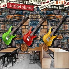 3D seamless large TV sofa mural wallpaper European and American brick stone wall electric guitar fashion personalized painting все цены