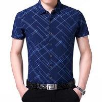 Venda quente dos homens camisa listrada de verão new style 2017 baratos listras moda masculina camisas de manga curta homem camisas de vestido ocasional