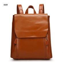 2017 Для женщин масло воск кожаный рюкзак Для женщин Повседневное Дизайн Школьные сумки женские из искусственной кожи Для женщин Дорожная сумка ретро элегантный дизайн сумка