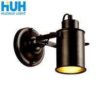 الجدار مصباح الأمريكية الرجعية البلد Loft نمط E27 مصباح رئيس مصابيح الصناعية Vintage الحديد الجدار ضوء ل مقهى بار المنزل الإضاءة