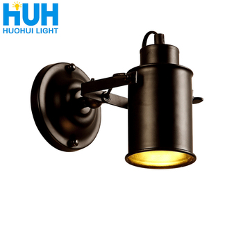 Wall Lamp American Retro Country Loft Style E27 Lamp Head lamps Industrial Vintage Iron wall light for Cafe Bar Home Lighting