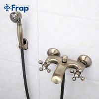 Frap Retro Style Antique Bronze Wanna Kran Podwójny Uchwyt Prysznic Zimnej i Ciepłej Wody Z Kranu Miksera F3019-4