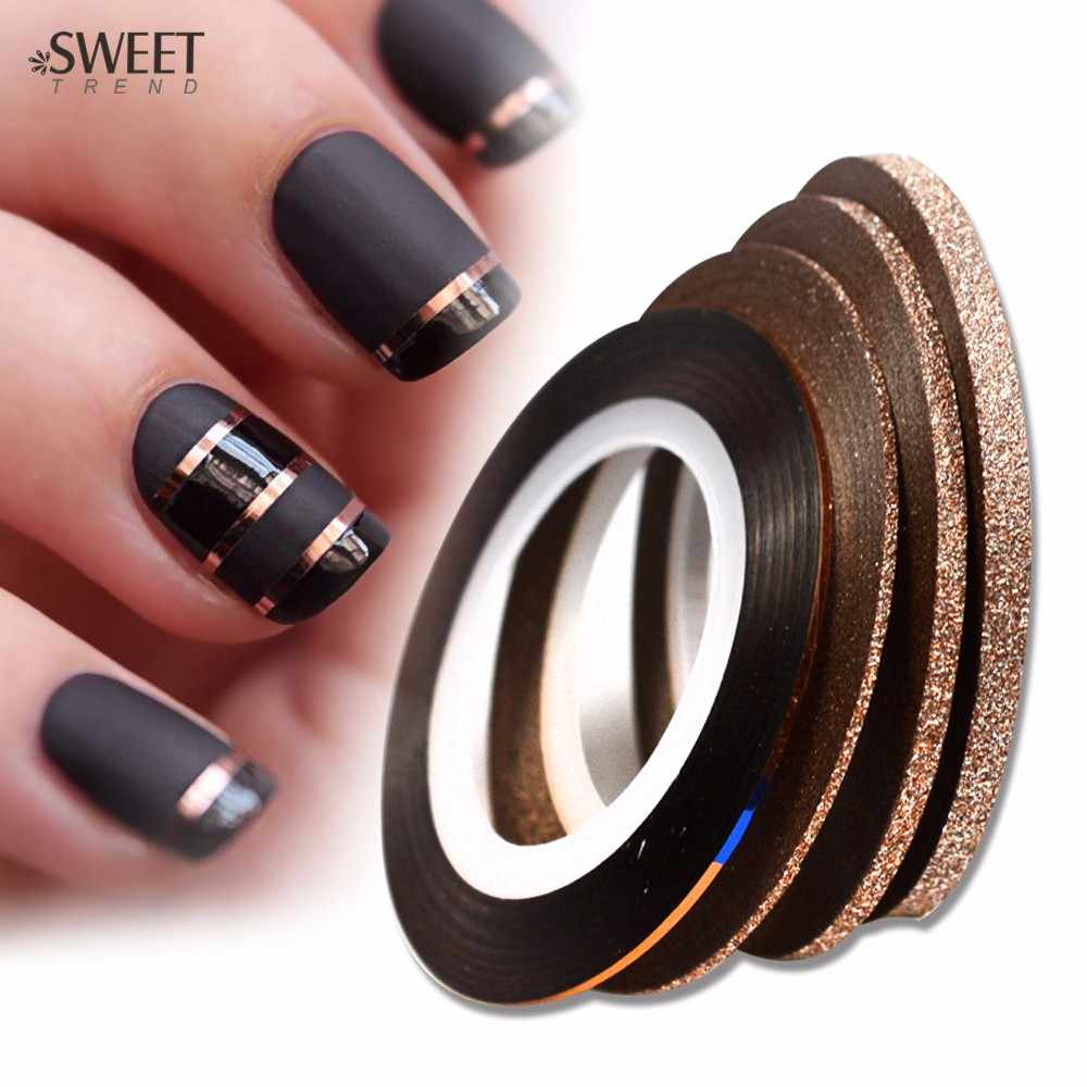 4pcs 1-3mm Cinnamon Color Rolls Nail Striping Tape Line Laser Glitter Nail Art Decoration Adhesive Tips DIY Sticker Tool LAND299