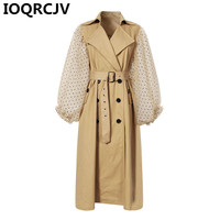 2019 New Women Trench Coat Khaki Cotton Windbreakers Lantern Sleeve Spliced Double Breasted Coat Lace Up Slim Long Overcoat R772