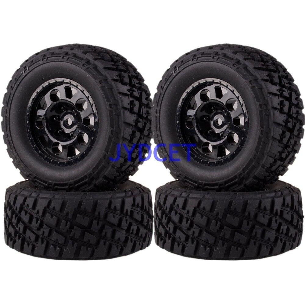1182-17B 4 pièces jante de roue avant et arrière et pneus pour 1/10 RC Moel Traxxas Course courte camion Slash 4x4