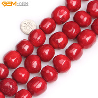 Gem inside 19x20mm Dyed Color Freeform Large Round Red Coral Orange Colral Beads For Jewelry Making Beads 15inch DIY Beads