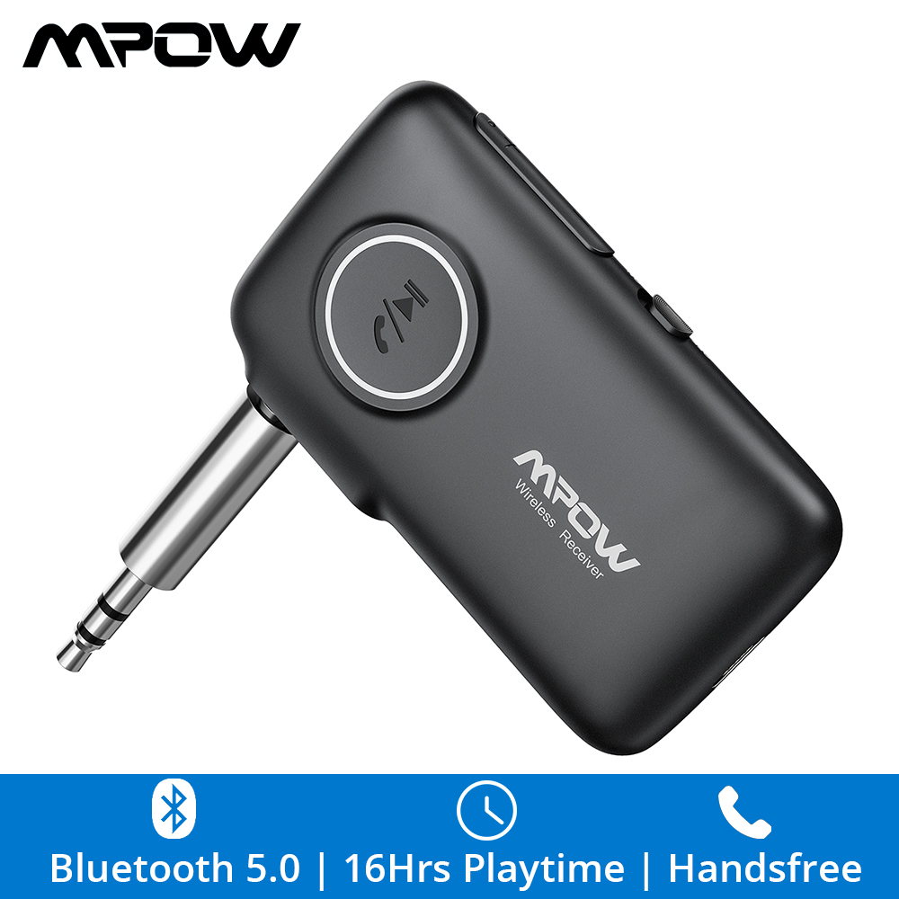 Mpow BH298 Bluetooth Receiver 3.5mm Bluetooth 5.0 Audio Adapter Handsfree With 16H Playtime For Headphone Speaker AUX Car Audio