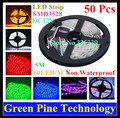 Free Shipping 50 pcs SMD 3528 60 LED / M RGB Strip 5M 300 LED DC12V Non Waterproof string flash light LED colorful string Light
