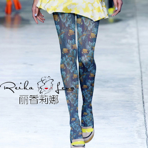 Collant Runway Looks Pantyhose Women Tights To Restore Ancient Ways And Flowers Birds Individual Color Render Stocking