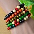 Serie del estilo étnico de nuevo color de cuentas de madera pulsera del estiramiento special vuelta perlas pequeñas joyas al por mayor