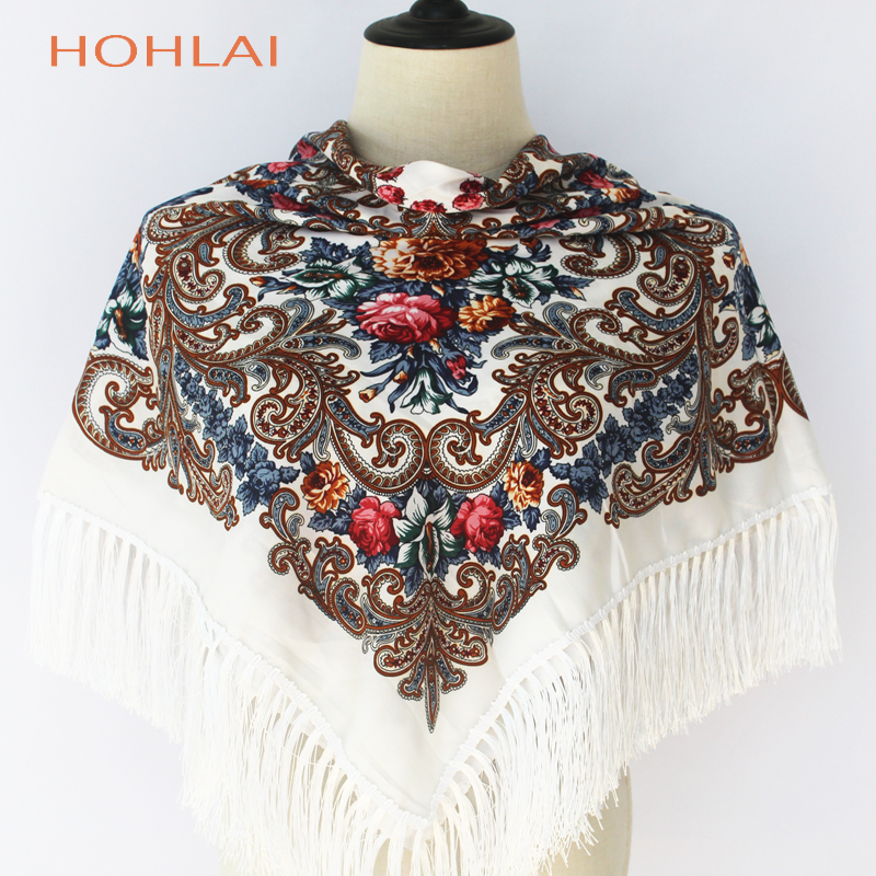 2019 New Fashion Women Tassel Classic   Scarf   Floral Printed Russian Shawl Gift Cotton Lady Warm Square   Wrap   Sunshade   Scarves