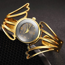 2017 Fashion Wings Design Bracelet Watch Full Steel Quartz Watch Women Cuff Bangle Watches Femme Relojes Mujer Relogio Feminino(China)