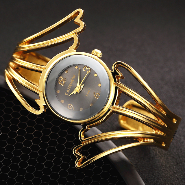 2017 Fashion Wings Design Bracelet Watch Full Steel Quartz Watch Women Cuff Bangle Watches Femme Relojes Mujer Relogio Feminino