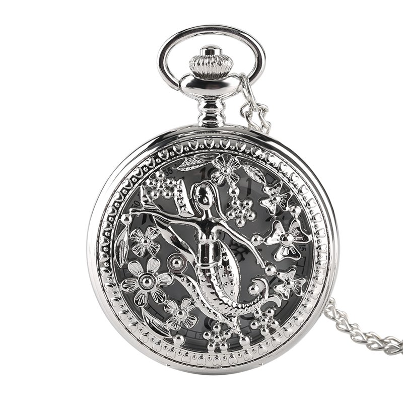 New Fashion Creative Design Silver Hollow Little Mermaid Pattern Shining Pocket Watch With Chain Gift New For Women