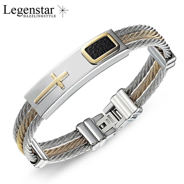 2017 Fashion Gold Jesus Cross Bracelet Men Jewelry Stainless Steel