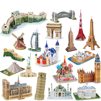 3D Carboard Paper Building Puzzle Model Toy World Great Wall Tower Bridge White House Notre Dame Eiffel  Jigsaw for Kids 6 Years 1