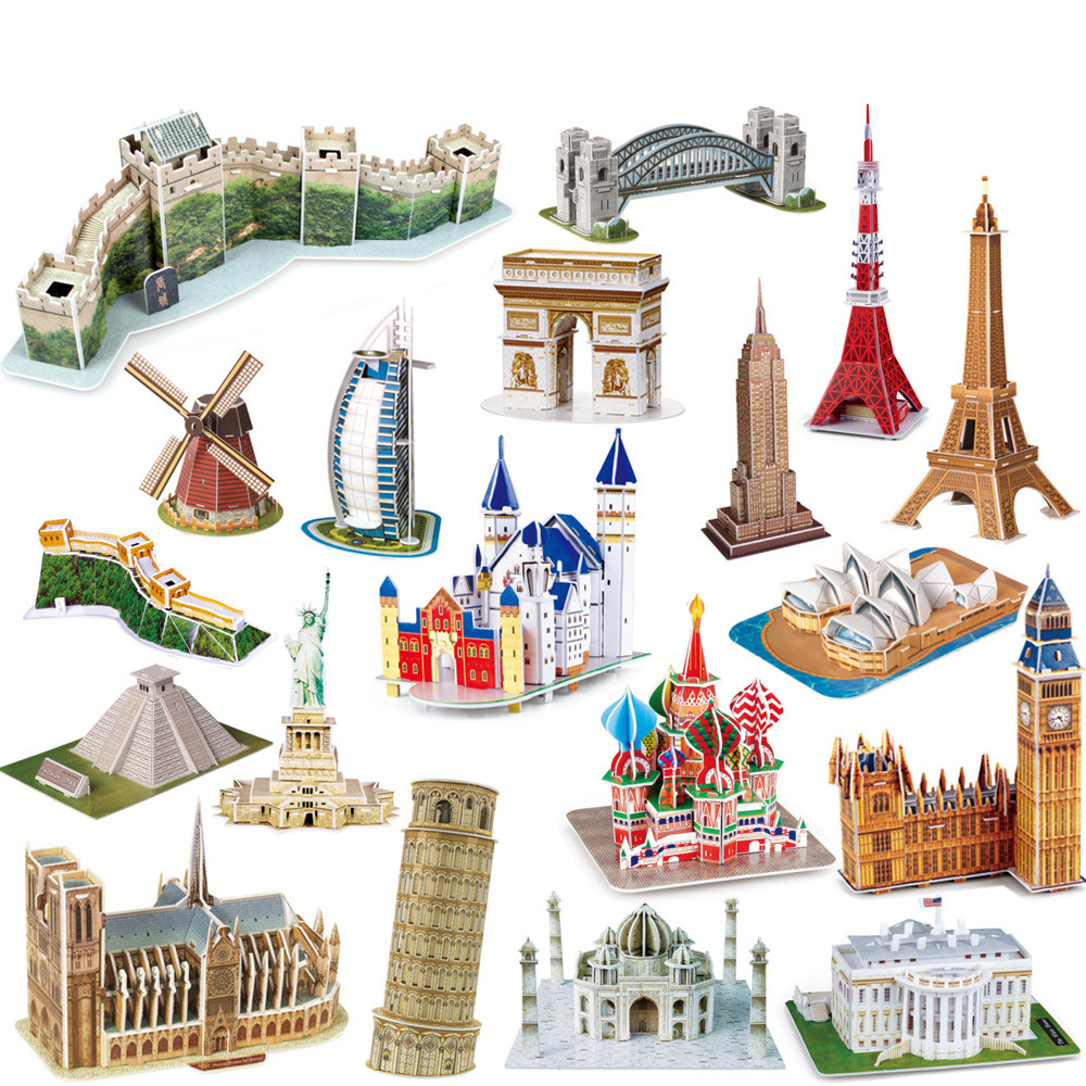 3D Carboard Paper Building Puzzle Model Toy World Great Wall Tower Bridge White House Notre Dame Eiffel  Jigsaw For Kids 6 Years
