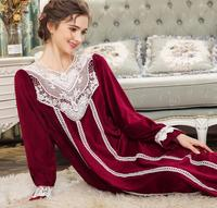 2018 winter new thicken Silver fox sweet style Nightgowns female lace patchwork princess long sleep dress home clothes gx1327