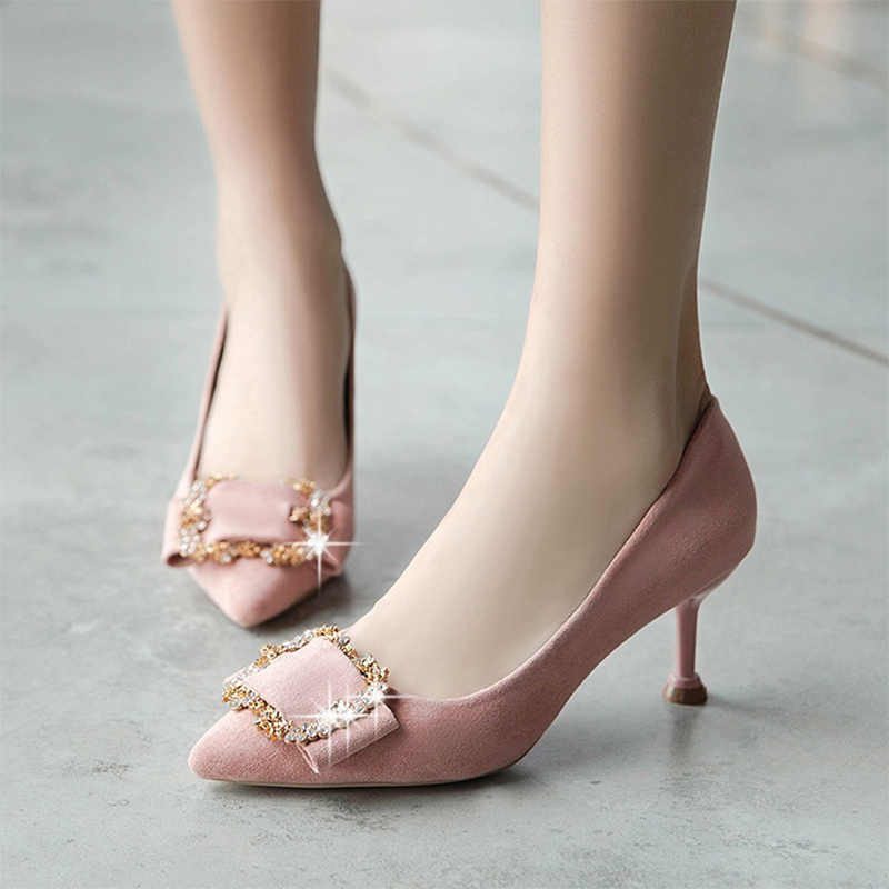 Spring Women Dress Shoes Faux Suede High Heels Pumps Thin Heeled Woman Shoes  Metal Crystal Ladies beeeea93605e