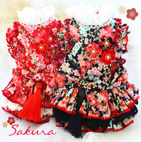Free shipping handmade pet clothes sakura cherry blossom Lotus leaf lace cake skirt dog dress cat