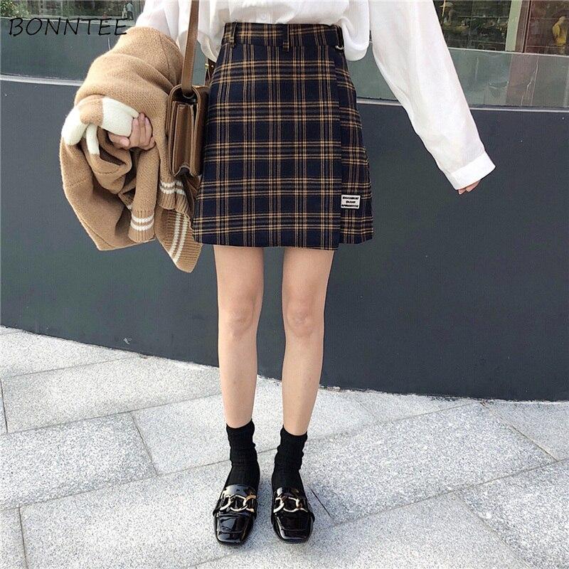 Skirts Women Retro Plaid Simple Elegant Autumn 2019 Chic Womens Leisure A-Line High Waist Female All-match Students Skirt Lovely