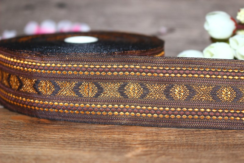 10yards/lots Woven Jacquard Ribbon 4cm brown color pattern IS-3280