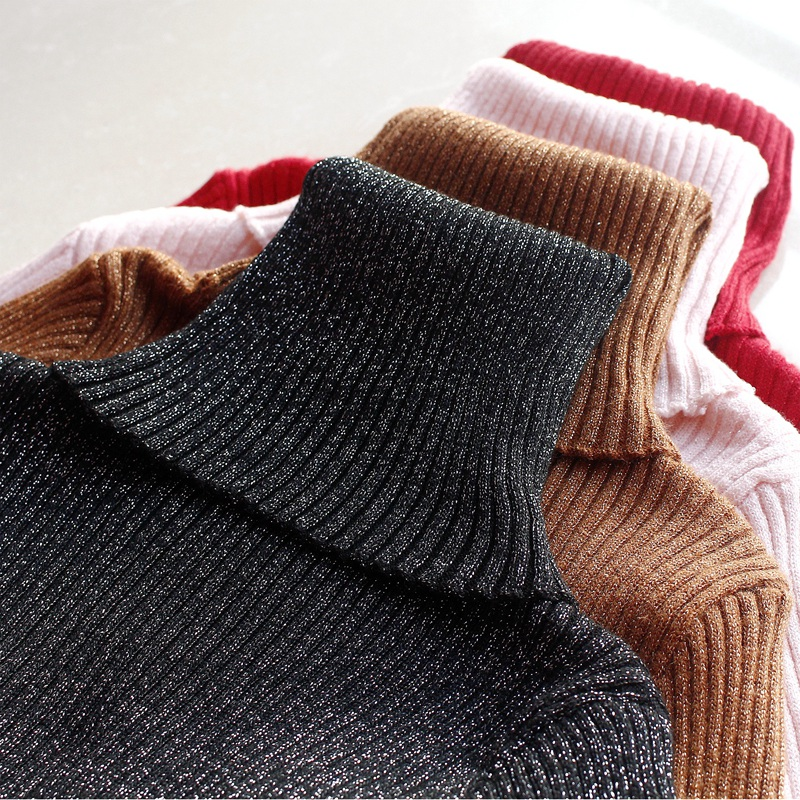 New Glitter Turtleneck Women Pullover Sweater High Elasticity Knitted Ribbed Slim Jumper Autumn Winter Basic Female Sweater-in Pullovers from Womens Clothing on Aliexpresscom  Alibaba Group