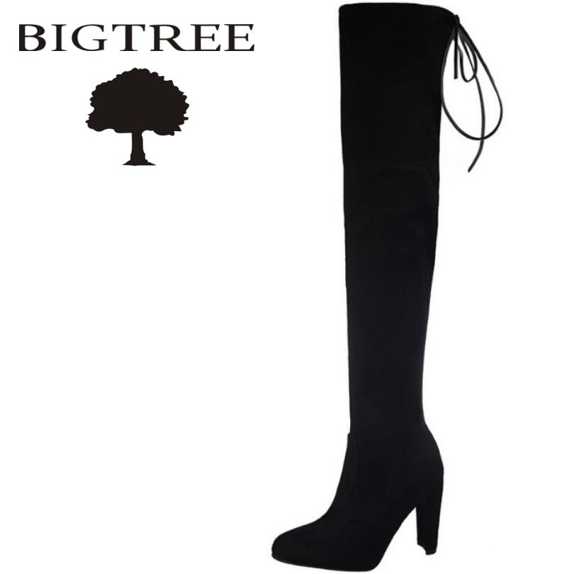 Bigtree Autumn Winter Slip-On Women Over -the-knee Boots Heels Suede Slim Sexy Women Snow Boots Thigh High Boots Shoes Woman fashion snake printed thigh high boots med heels slip on over the knee boots autumn winter party banquet prom shoes woman