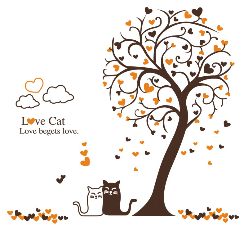 Abstract oblique heart tree wall decals love cat vinyl sticker mural art design in wall stickers from home garden on aliexpress com alibaba group