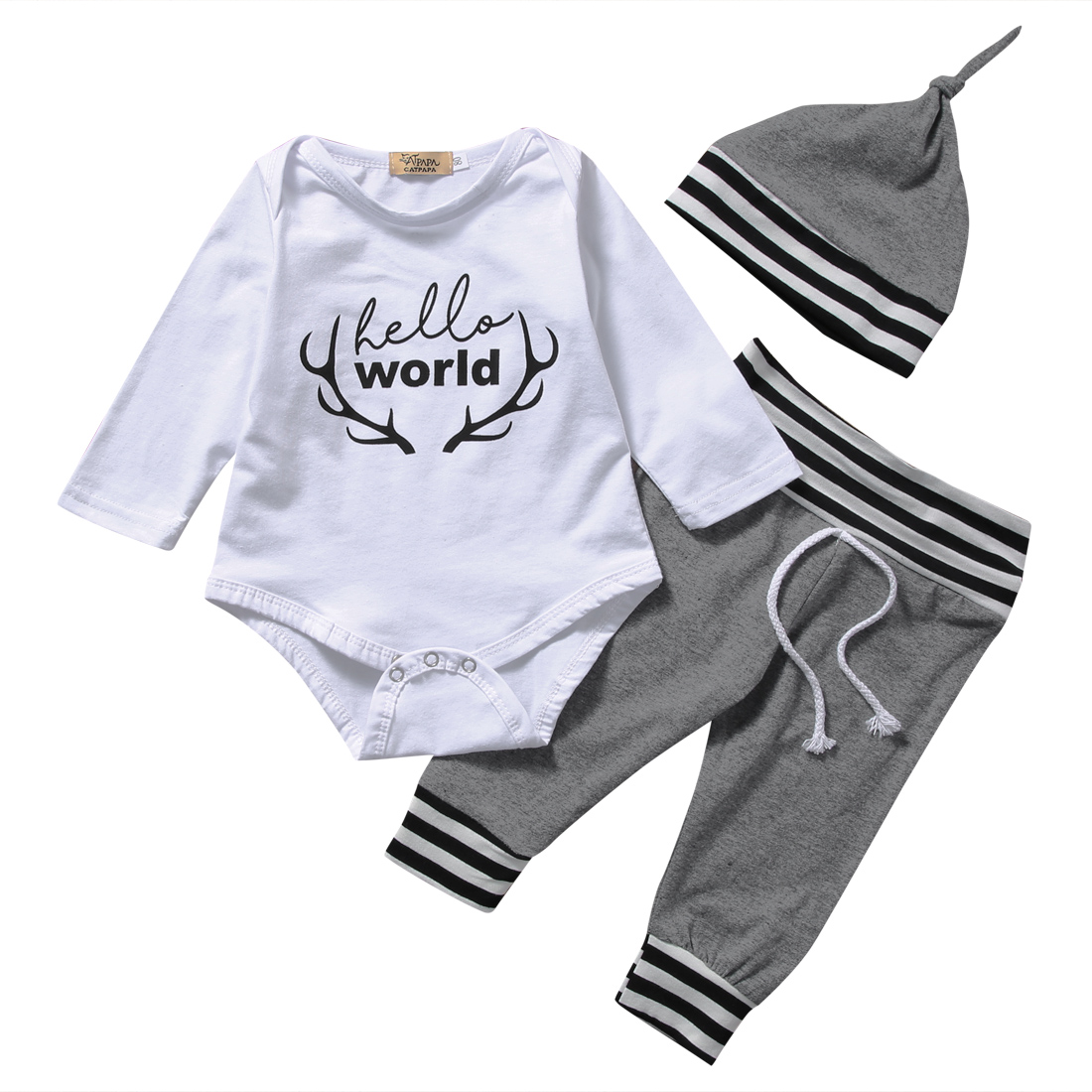 3pcs Newborn Infant Baby Boy Girl Cotton Romper Tops Long Pants Hat Outfits Clothes Set